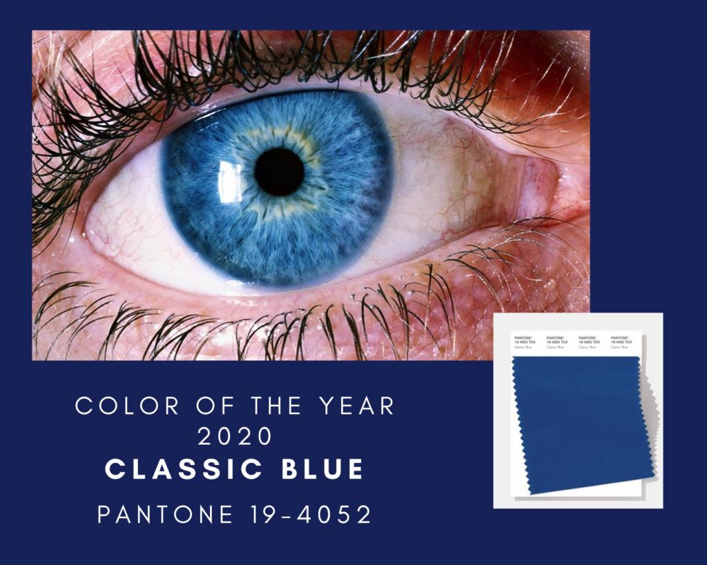 Classic Blue Pantone 19-4052 de kleur van het jaar 2020. Foto met een oog met een blauwe iris.