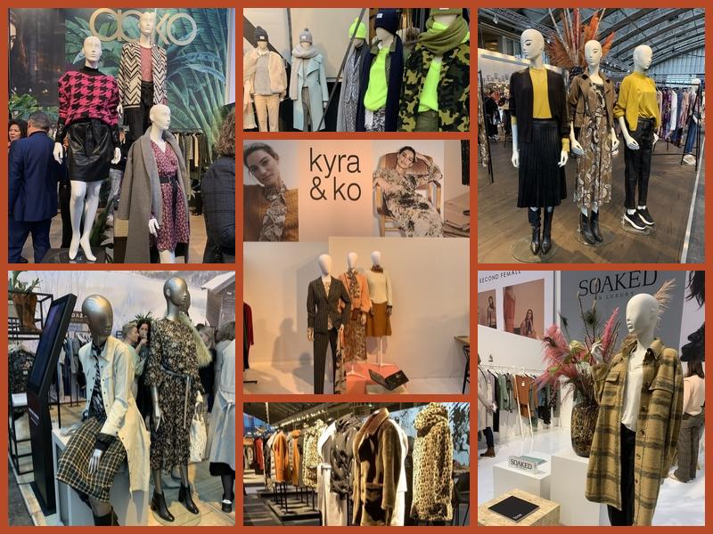 Collages met vrouwelijke etalage poppen met de nieuwste mode zoals omschreven in het artikel. Foto's gemaakt tijdens de modefabriek januari 2020.